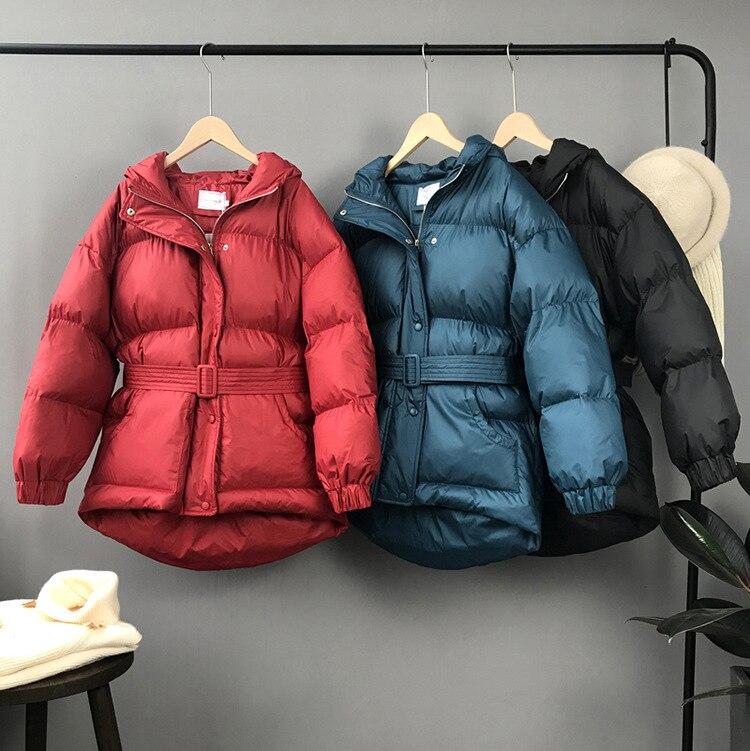 2018 Pardessus Coton Streetwear Impression Lâche Outwear black Hiver Coréenne Épaississement O Casual Mooirue Cou blue Harajuku Automne Red Veste bf76yYg