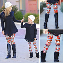 62588225ebd232 New Fashion Family Matching Mother Daughter Pants Print Capris Trousers  Women Girl Leggings Christmas Leggings Pants