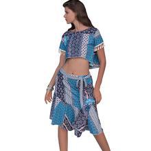 b9db788a6 Mulheres Define Moda Estilo Étnico Impressão Borla Cropped T Camisa Chiffon Saia  Sexy Girl New Boho Summer Beach Casual Dois pie.