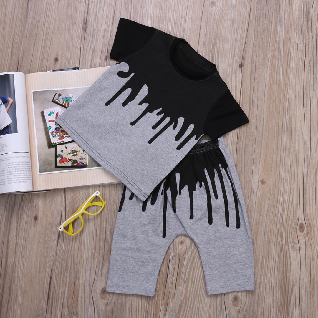 Комплект летней одежды из хлопка для новорожденных и маленьких мальчиков, топ с короткими рукавами + длинные штаны, повседневная одежда, нов...
