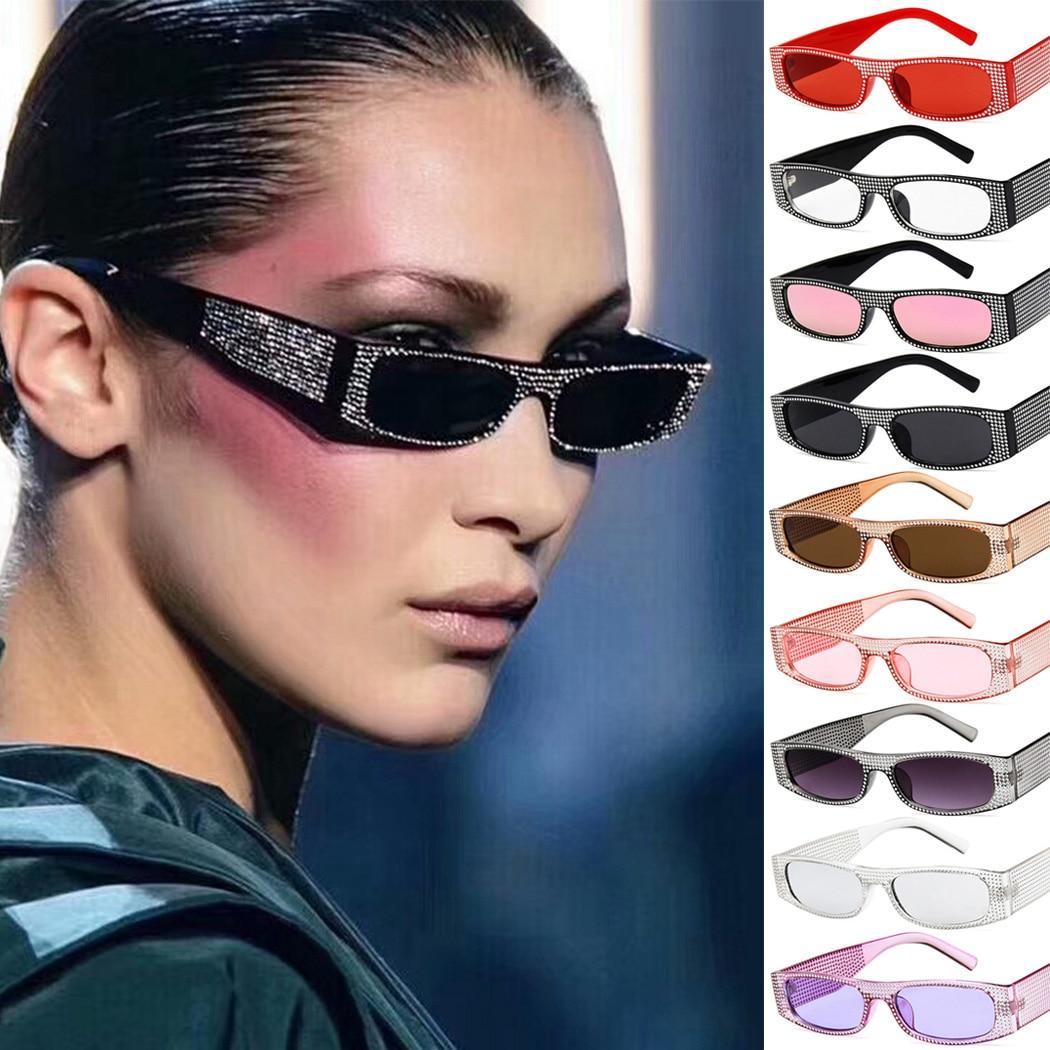 Rhinestone Sunglasses Rectangle Retro Small Vintage Designer Ladies Women Brand Frame