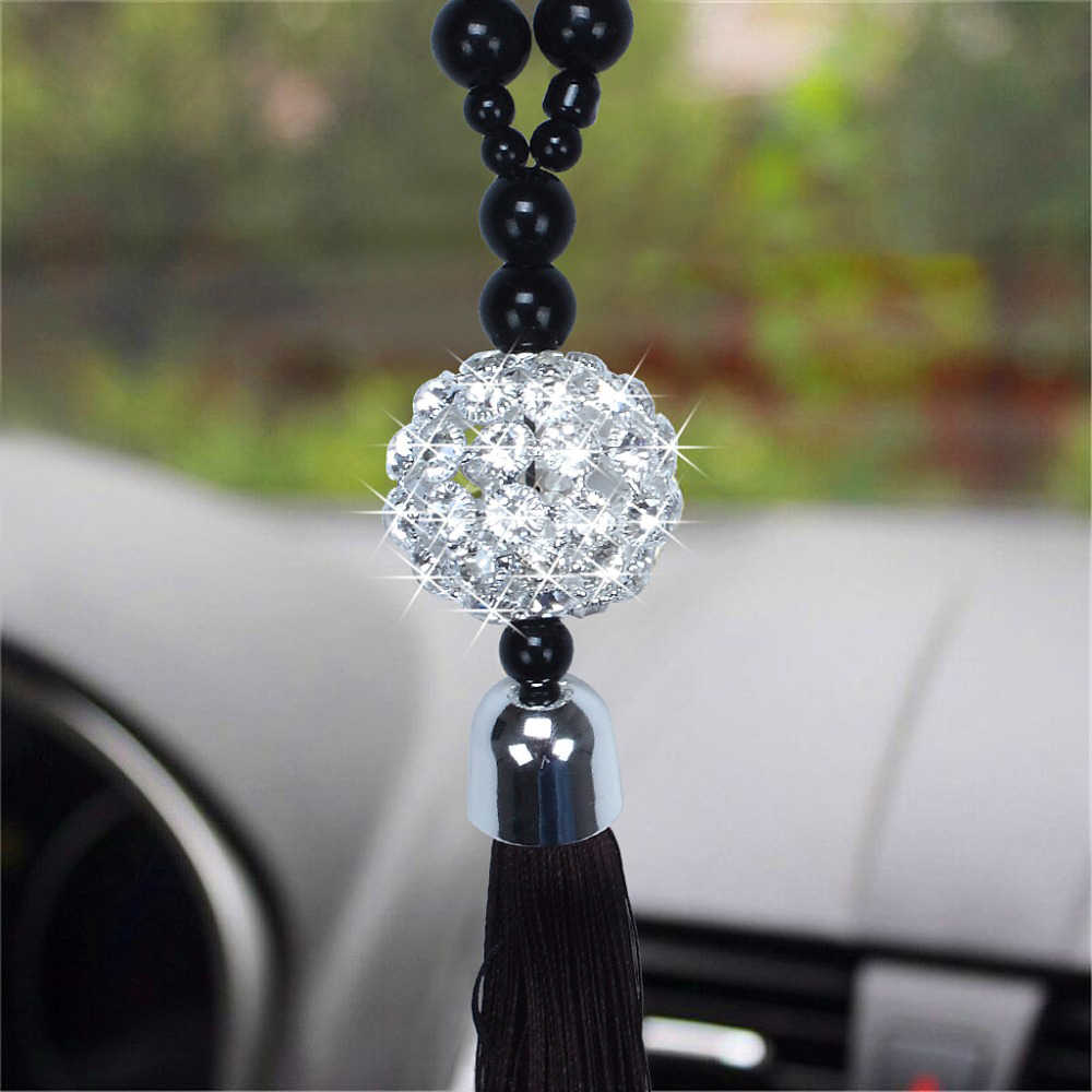 Car Pendant Rearview Mirror Hanging Ornament Buddha Beads Replica Crystal Ball Lucky Charm Pendant Hangings Auto Interior