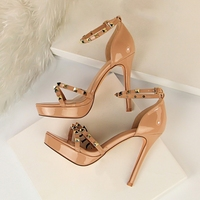 New Summer Rivet Platform Sandals High Heels Women Shoes Heel Buckle Strap Sexy Thin High Heeled Nude Red Sandal 34