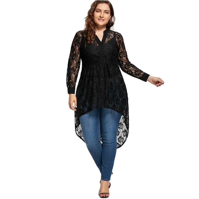b53cbdb8ae95c4 ... Wipalo Women Plus Size Blouse Autumn Peplum Long Sleeve High Low Lace  Shirts Tunic Through Button ...