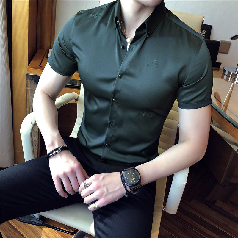 2019 Summer Fashion Classic England Wind Self-cultivation Solid Color Silk Mens Shirt Male Short Sleeve Shirt Top Blouse
