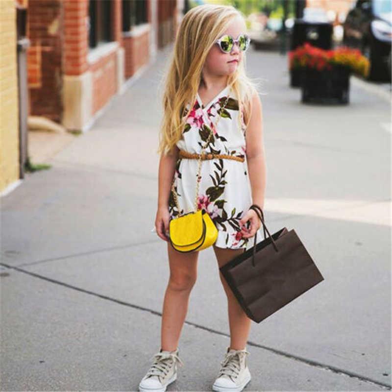 Детский комбинезон без рукавов с цветочным рисунком для маленьких девочек; Летний комбинезон без рукавов с v-образным вырезом для маленьких девочек; одежда