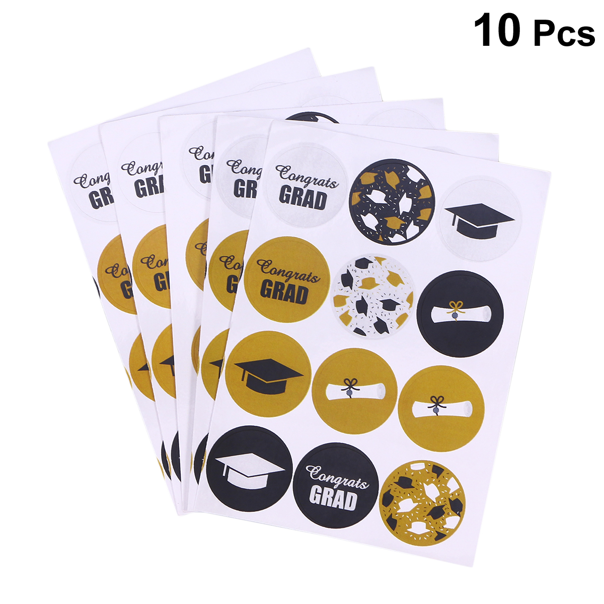 10sheets/Pack Round Labels Graduation Theme Patterned Sealing Stickers Handmade Roll Decals For Certificate Decor
