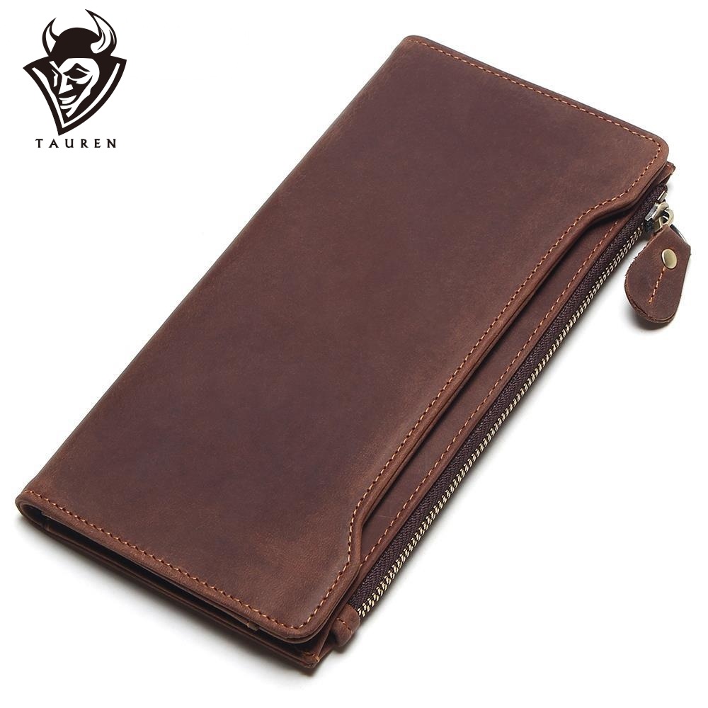 TAUREN 100% Genuine Leather Classic Wallet Best Crazy Horse Leather Men Wallets Long Vintage Fashion Male Purse