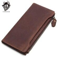 Classic Wallet Male Purse Crazy-Horse Vintage Long 100%Genuine-Leather TAUREN Men Best