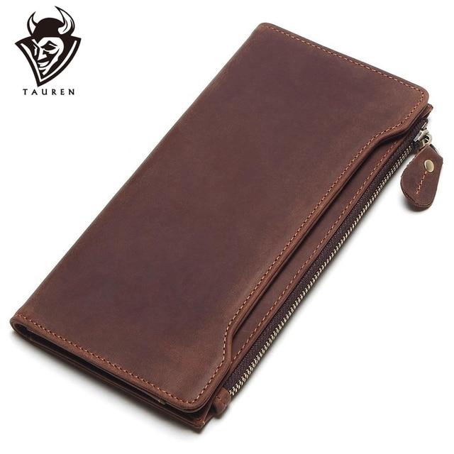 Tauren 100% 本革のクラシック財布最高のクレイジーホースレザーメンズ財布のファッション男性財布