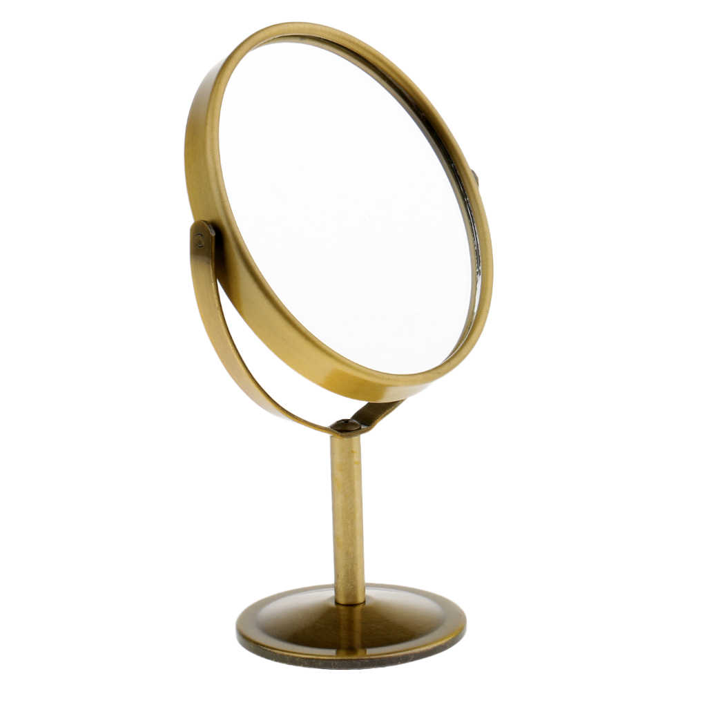 16cm Mini Dual Side Mirror Normal Magnifying Oval Mirror With Metal Stand Table Desktop Decorative Revolving Makeup Mirrors