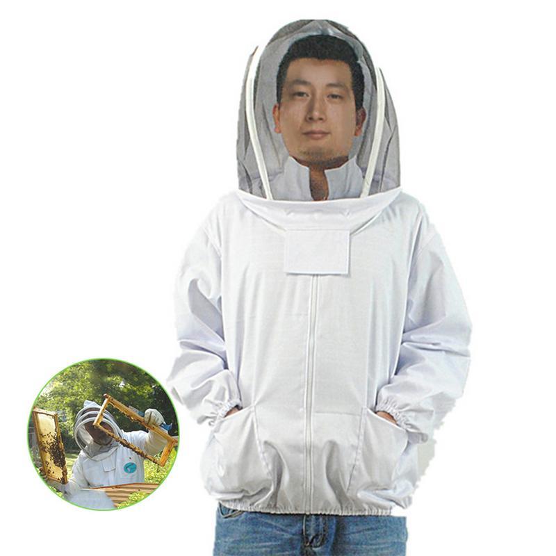 Profissional apicultura terno jaqueta protetora com auto apoio véu abelha inseto alimentação suprimentos mantendo equipamento apicultor