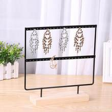 Wooden Metal Jewelry Display Stand for Ear Hook Drop Earrings Showcase Rack Fashion Earrings Display Rack Etagere 2019(China)
