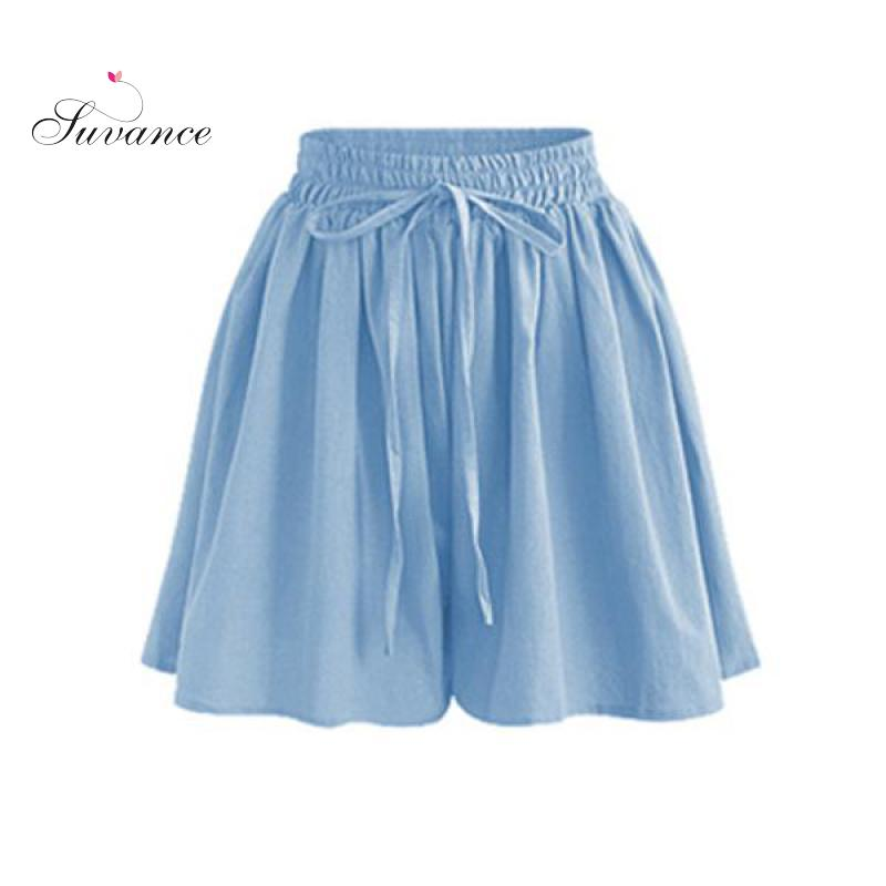 Suvance Summer Casual 6 Solid Color Patchwork Big Size M-6xl Loose Elastic Women Shorts