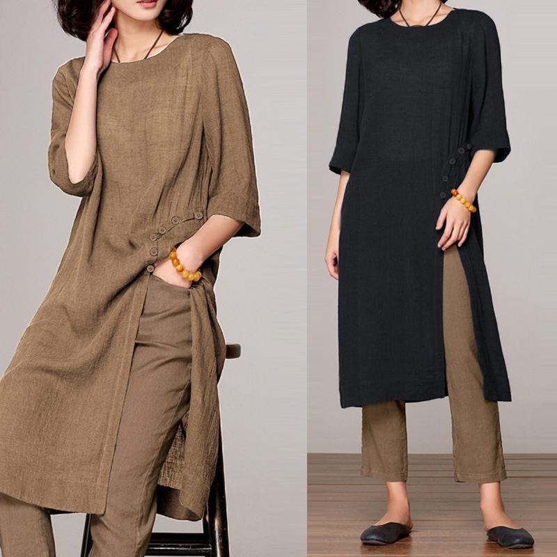 S-5XL Celmia 2020 Summer Women Blouses Vintage Linen Tops Half Sleeve Loose Split Long Shirts Casual Solid Party Blusas Feminino