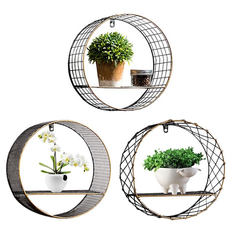 Circular Storage Rack Wall Hanging Decorative Decor Personalized Storage Shelf Household Innovative Indoor Living Room Ornament
