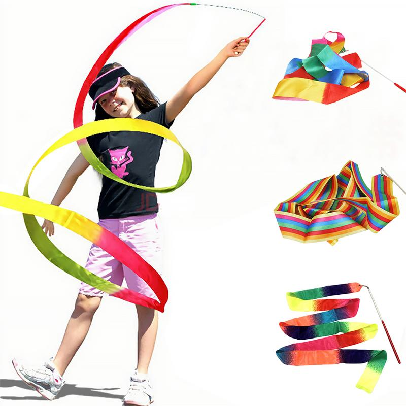 2pcs Children's Dance Ribbons Rhythmic Gymnastic Ribbon For Kids Professional Dance Game Streamer For Gymnastics Training