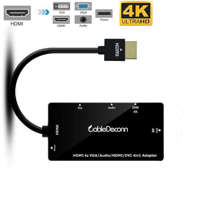 Cabledeconn 4 In1 HDMI Splitter HDMI untuk Vga Dvi Kabel Audio Video Multiport Adapter Converter untuk PS3 HDTV Monitor Laptop