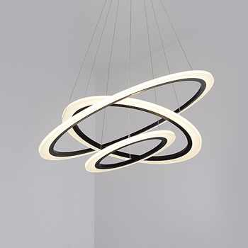 Modern LED Chandeliers Light For Dining Living Room Rings Luxury Lustre Hours White Black Suspension Lamp With Remote Control