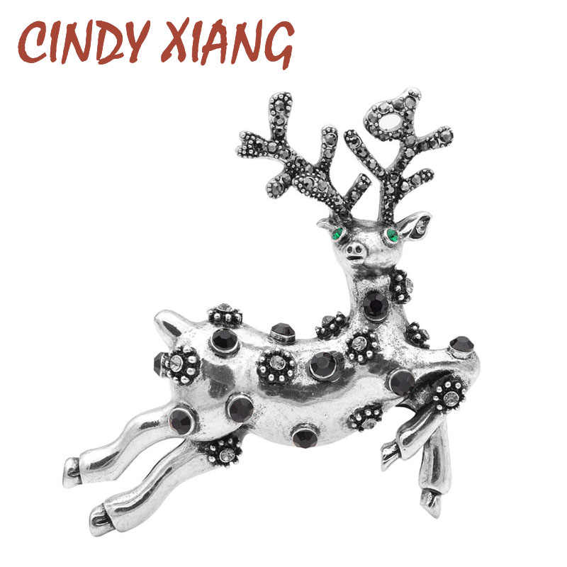 Cindy Xiang Tersedia 2 Warna Berlian Imitasi Rusa Bros untuk Wanita Vintage Rusa Pin Fashion Mantel Korsase Kualitas Tinggi Baru