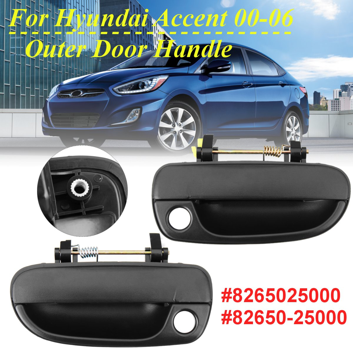 Black font b Exterior b font Door Handle Front Outer Door Handle For Hyundai Accent 1997