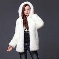 JRNNORV Winter Fashion Fluffy Warm Parka Black Coat Loose Faux Fur Hooded Jacket Plus Size Overcoat Female Outerwear BA0607