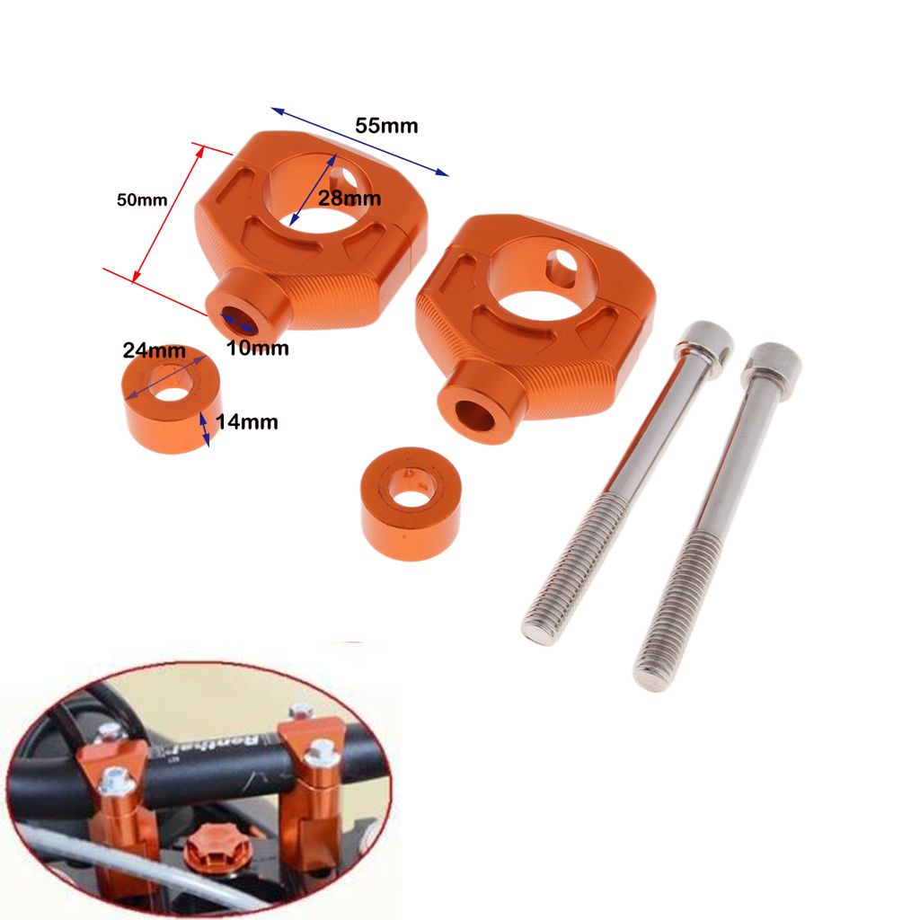 2pcs Orange 50mm Bar Clamp <font><b>Riser</b></font> 1 1/8' <font><b>28mm</b></font> Taper <font><b>Handlebar</b></font> <font><b>Risers</b></font> for KTM 690 image