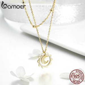 Image 5 - BAMOER Authentic 925 Sterling Silver Sunny Shape Geometric Necklaces Pendant & Earrings Jewelry Set Fine Jewelry Making Gift