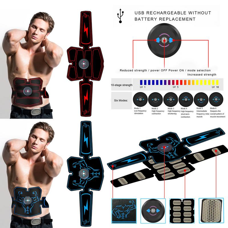 ABS Stimulator MuscleTrainer Abdominal Toning Belt Electric USB AB Belt Effective Muscle Trainer Portable Fitness Trainer Device