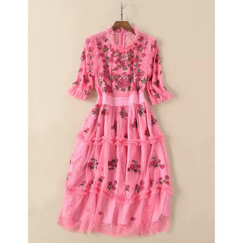 b8889444de Sparkly-femmes-paillettes-robe-rose-maille-ruch-dames -robes-d-t-volants-col-manches-courtes-une.jpg