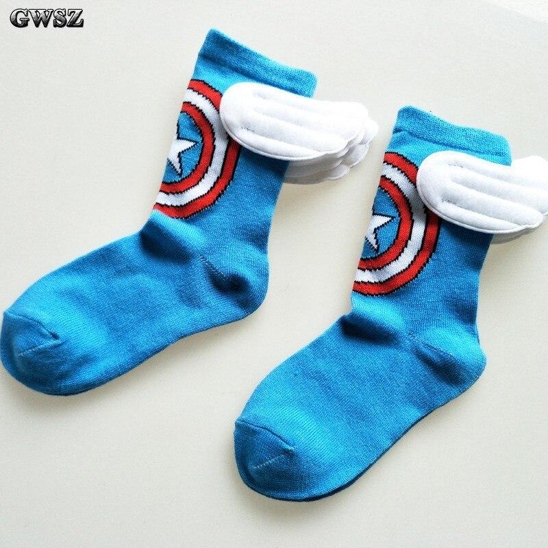 Super Hero Cartoon Children Socks Boys Straight Socks Men Captain America Sport Socks Kid Cotton Lovely Wing Socks For 5-8 Years