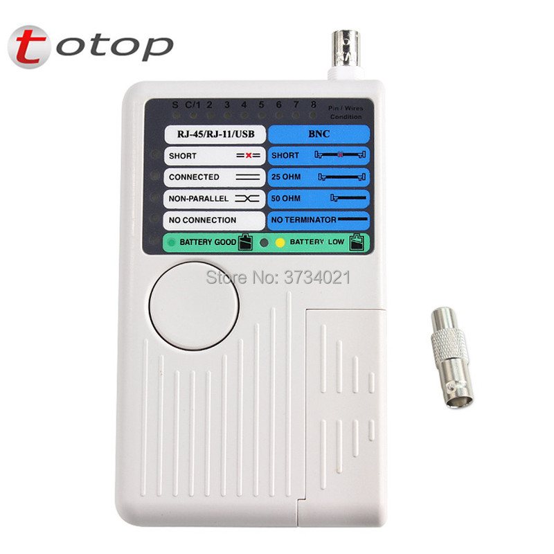 Multi-function Tester, RJ-45, RJ-11, USB And BNC Remote Cable Tester For UTP STP LAN Cables Tracker Detector