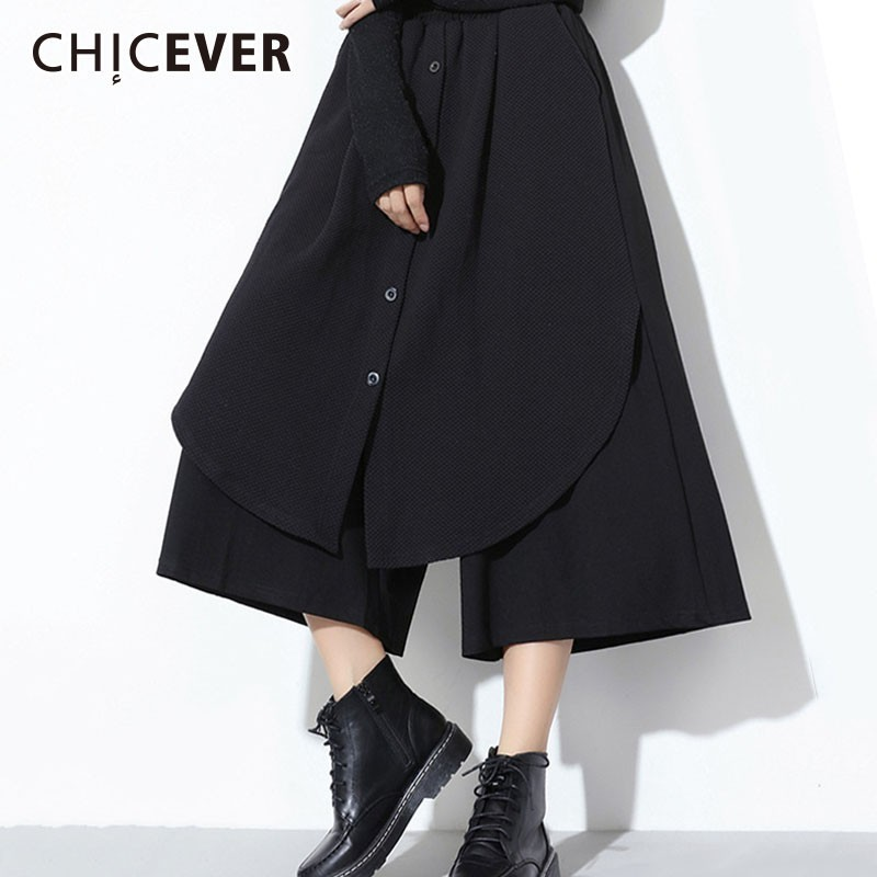 CHICEVER 2019 Spring Trouser For Women Elastic Waist Loose Oversize Patchwork Black   Wide     Leg     Pants   Female Fashion Casual Clothes