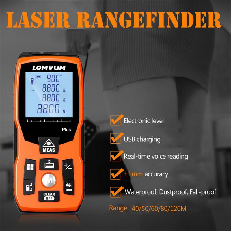 For LOMVU 40M 60m 80m 100m 120m New USB Charge Electronic Level Laser Rangefinders Digital Laser Distance Meter Calculation