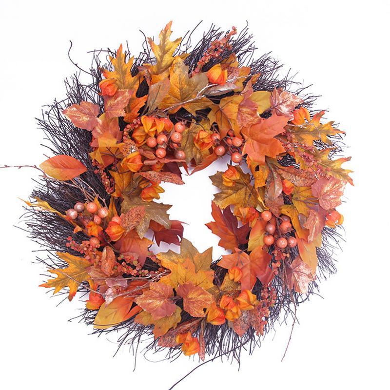 50 см ягоды осень кленовые листья цветок венок гирлянда искусственный день благодарения дверь настенное украшение дома осень украшение
