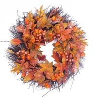50cm Berry Fall Maple Leaves Flower Wreath Garland Artificial Thanksgiving Day Door Wall Ornament Home Autumn Fall Decoration
