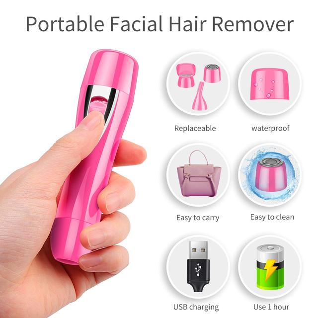 Mini Portable Hair remover/Painless Facial Hair Removal/Rechargeable Nose&Eyebrow Bikini Trimmer/Electric Shaver with Built-in 2