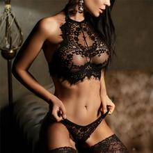 Женский брендовый кружевной сексуальный комплект нижнего белья, бесшовный бюстгальтер с вышивкой, эротическое белье размера плюс, Прозрачный Женский комплект нижнего белья