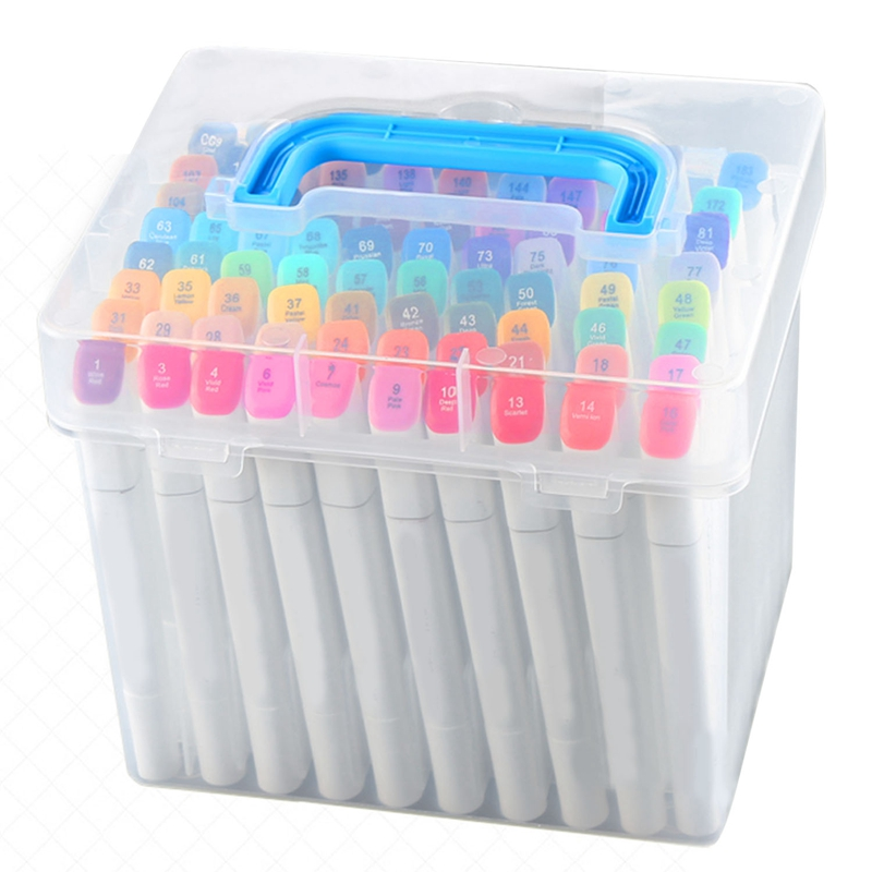 Transparent 60-Slots Portable Waterproof Moistureproof Markers Pens Storage Box Case For Mark Pens Home Office Desk Organizer