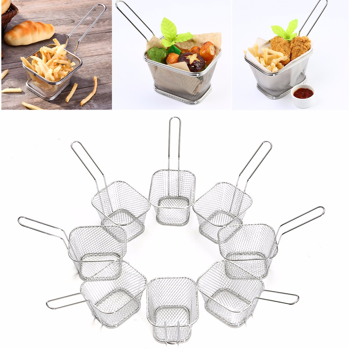 Kitchen,dining & Bar Dedicated 8pcs Mini Mesh Wire French Fry Chips Baskets Net Strainer Kitchen Cooking Tools Helper Electroplated Iron Wire 10.5x8.5x6.5cm Extremely Efficient In Preserving Heat Home & Garden