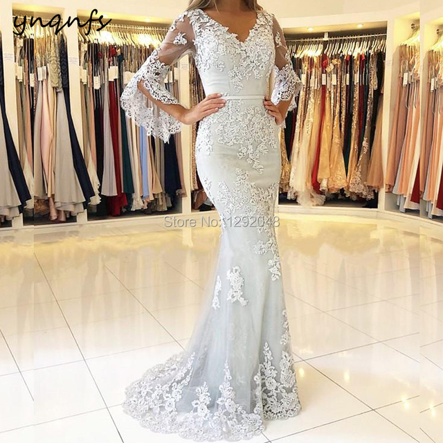 YNQNFS M02 Chic V Neck Long Sleeves Silver Gray Mother of the Bride Lace Dresses Groom Mother Long Gown Robe de Soiree Longue