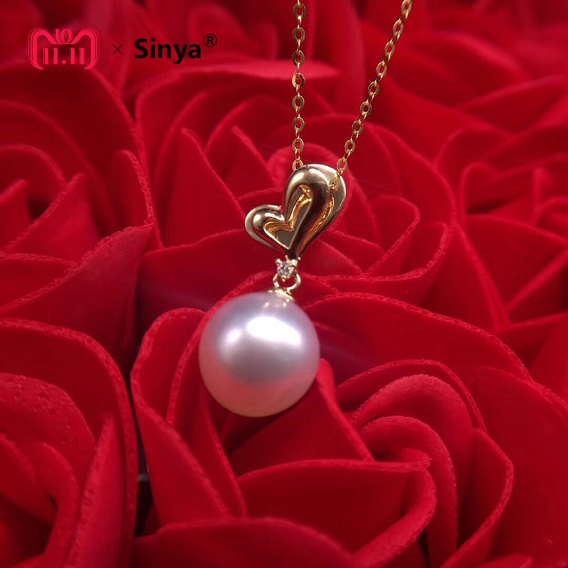 Sinya lover diamond pendant 18K Gold southsea pearl necklace fine jewelry Valentine's Day gift high quality 9-10mm natural pearl sinya real diamond southsea golden pearl pendant 18k gold necklace choker include au750 gold chains for women mum girls gift
