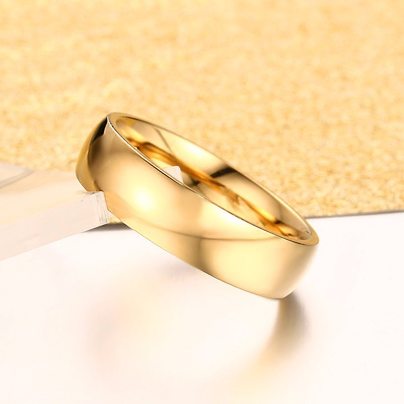 Vnox Classic Wedding Rings for Women Men 6mm Gold Tone Stainless Steel Couple Rings Simple Plain Bands Anniversary Gift 5