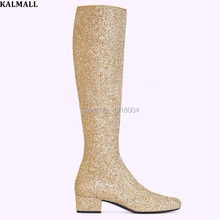 54c14df83e Buy silver knee high boots glitter and get free shipping on ...