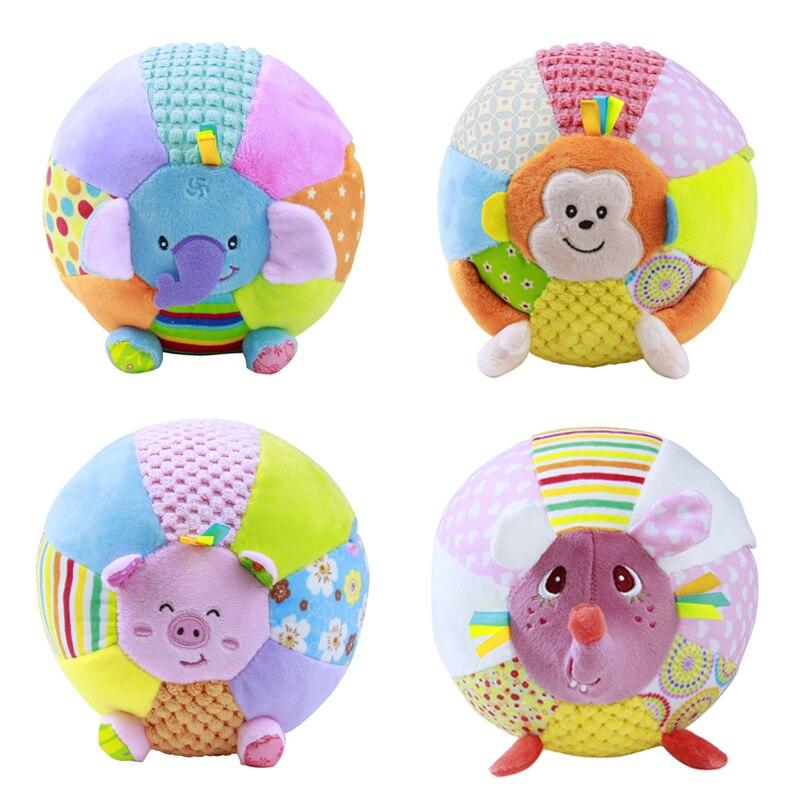 Baby Soft Plush Ball Toy 15cm Music Ball Rattle Animal Pig Monkey Elephant Mouse Baby Grip Training Educational Music Box Inside