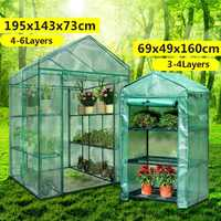 Greenhouse House Flower Plant Keep Warm Shelf Roof Garden Shed Durable Portable PVC Plastic Cover Roll-up Zipper Outdoor Breath