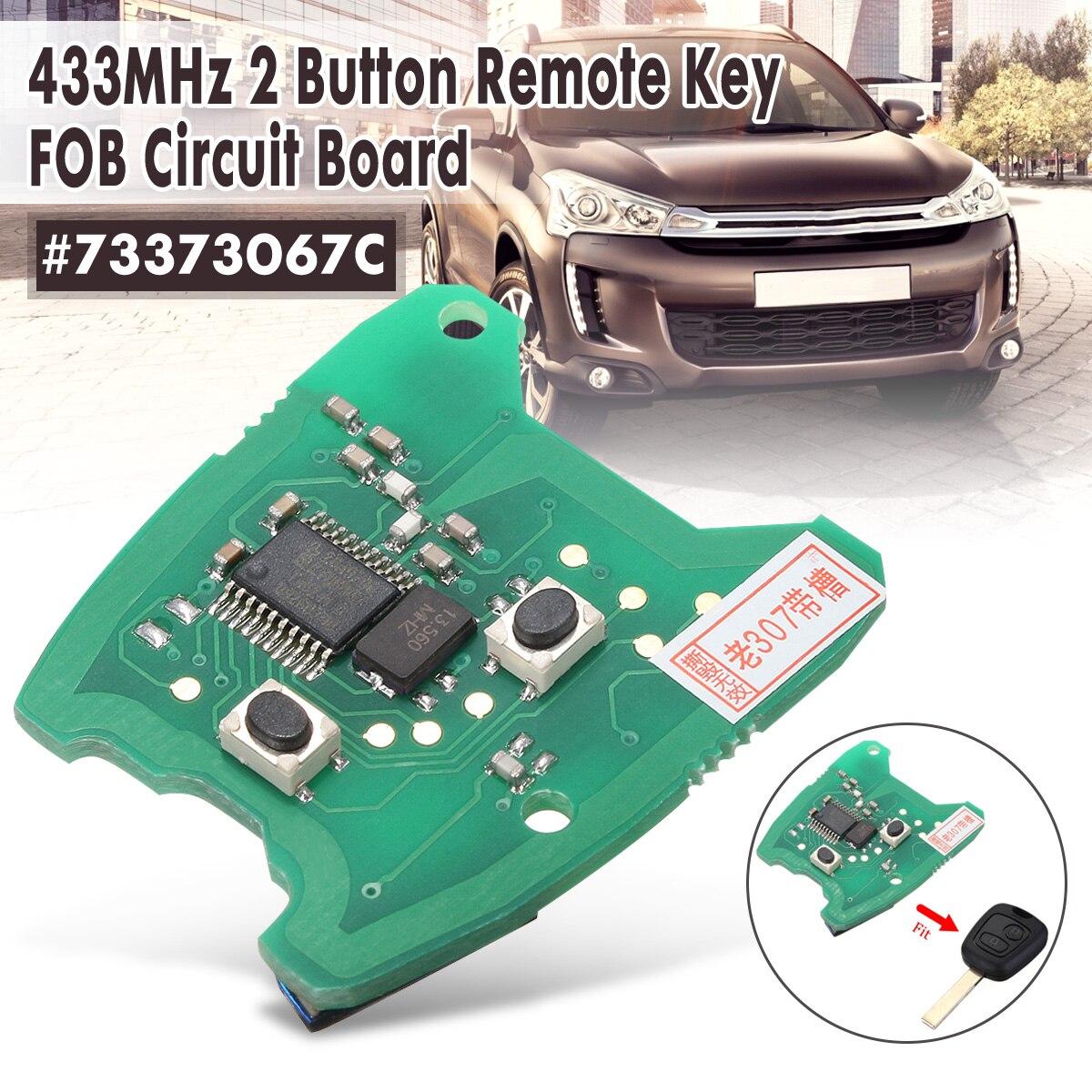 Otomobiller ve Motosikletler'ten Araç Anahtarı'de 433 MHz 2 düğmeli uzak anahtar FOB devre Için Peugeot 307/Citroen 73373067C title=