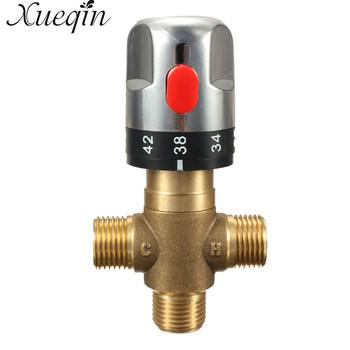 Xueqin 1PC do mosiężnej rury termostat kran termostatyczny zawór mieszający łazienka regulacja temperatury wody kran wkłady tanie i dobre opinie Brass