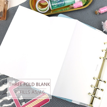 MyPretties 20 Sheets Blank Refill Papers A5 A6 Three Fold Filler for 6 Hole Binder Organizer Notebook Planner