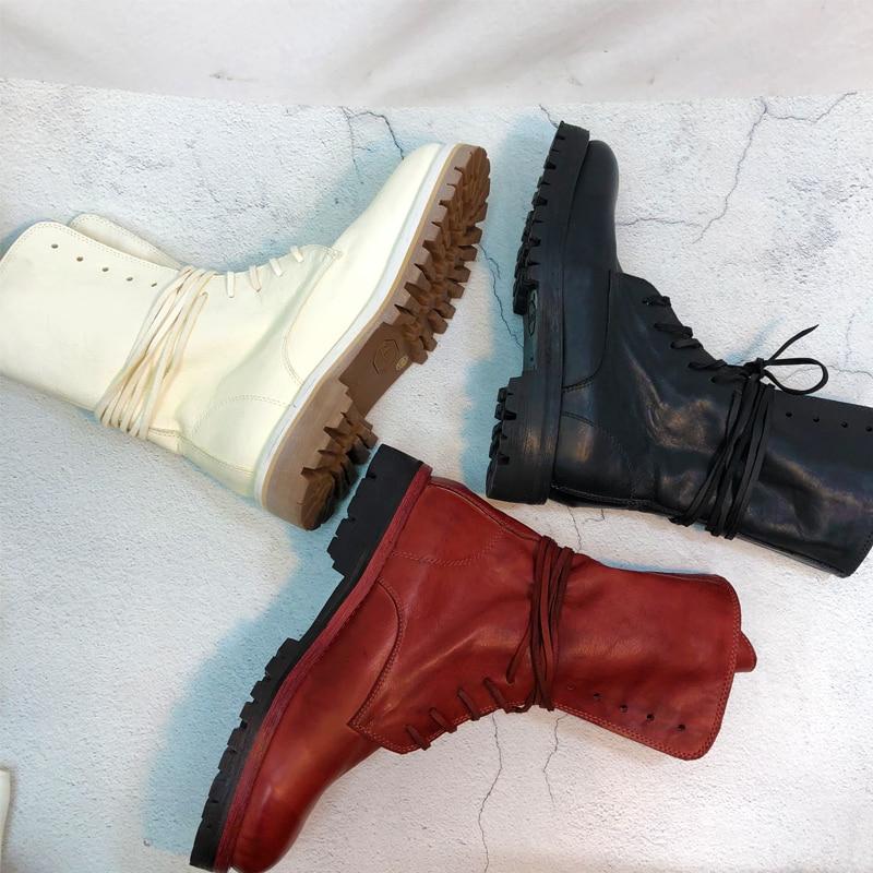À De Lacets Bottes Cuir Vintage Beige Femmes Chaussures D'été Bérets rouge Chevalier Cheval Cheville Haute Genou En Printemps Veau noir Femme wgnOqC